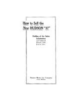 1913 Hudson Model 37 Salesmans Book