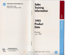 1992 VW Product Data Booklet