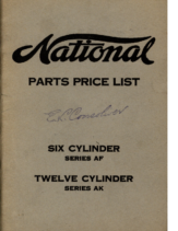 1917 National PARTS PRICE LIST