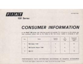 1977 Fiat 128 Series Information