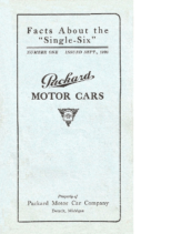 1921 Packard Single Six Facts Booklet