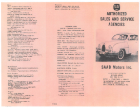 1961 Saab Authorized Sales & Service Outlets