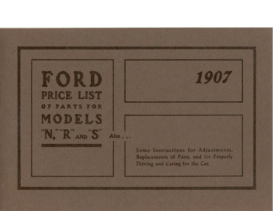 1907 Ford Parts List