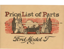 1912 Ford Model T Parts List (Sept)