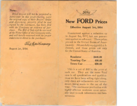1914 Ford Model T Prices