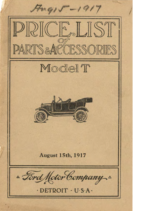 1917 Ford Parts List (Aug)