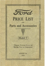 1919 Ford Model T Parts List (Aug)