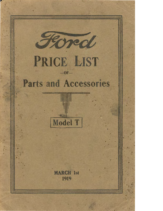 1919 Ford Model T Parts List (Mar)