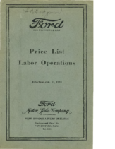 1923 Ford Labor Price List