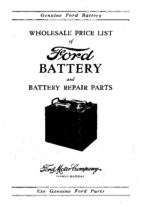 1924 Ford Wholesale Battery Price List