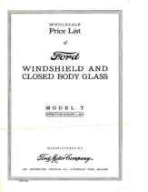1924 Ford Wholesale Glass Price List