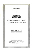 1927 Ford Windshield & Closed Body Glass Price List (Mar)