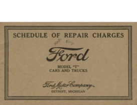 1930 Ford Schedule Of Repair Charges