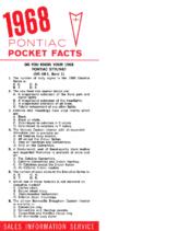 1968 Pontiac Pocket Facts Sheet
