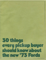 1973 Ford Pickup Facts Mailer